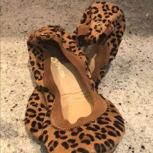 Yosi Samra leopard calf hair flats